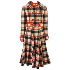 Ronald Amey Black, Ivory, and Red Plaid Wool Dress Set - 8 - 1970's