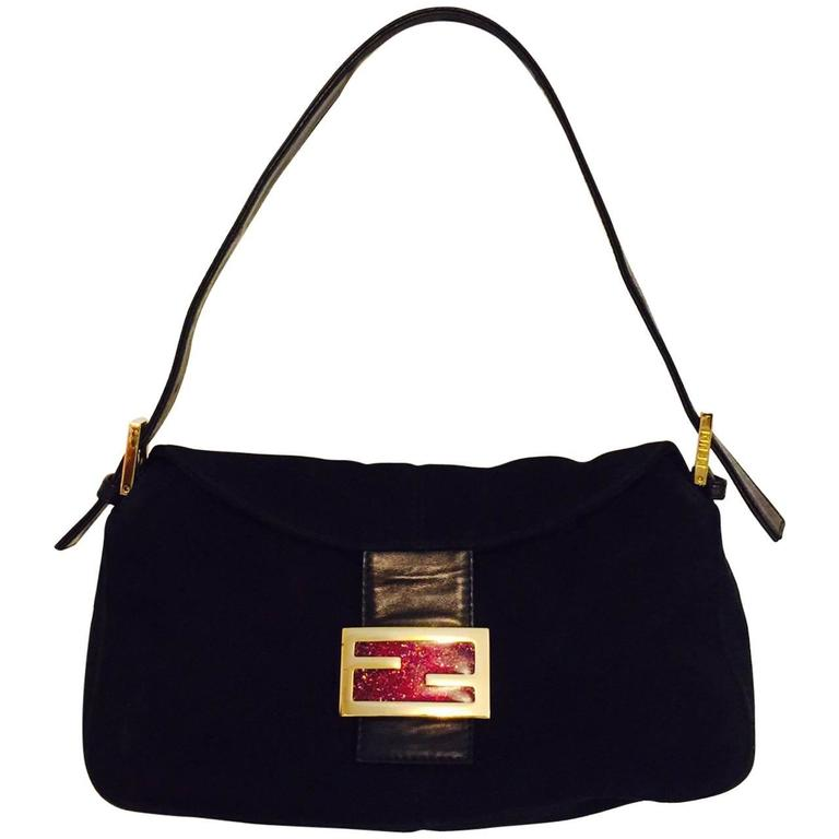Iconic Fendi Black Suede Baguette Bag With Gold Tone Zucchino Logo Closure  For Sale 85f4569b7fd50