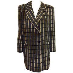 Giorgio Armani Black and Tan Window Pane Evening Jacket With Rectangular Sequins