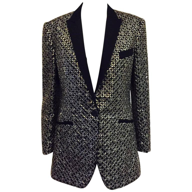 D&G Embroidered Black Silk Blend Rhinestone Dinner Jacket  For Sale
