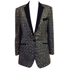 D&G Embroidered Black Silk Blend Rhinestone Dinner Jacket