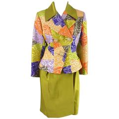 Christian Lacroix Multi Brocade Skirt Suit with Rhinestone Buttons - 10 - 1990's