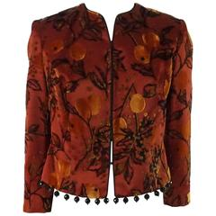 Joanna Mastroianni Red Cut Velvet Jacket with Hanging Beads - S