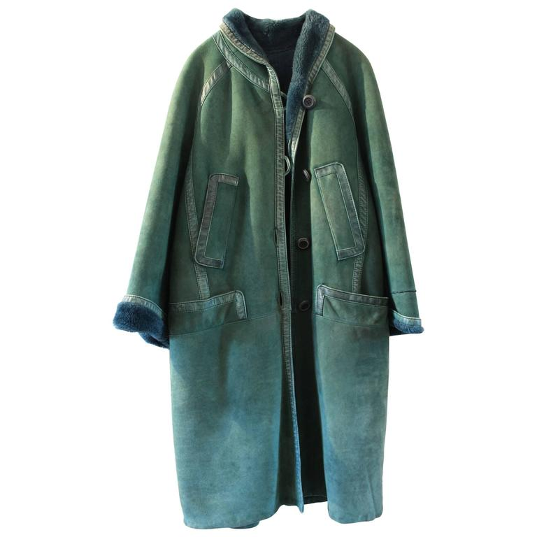 Christian Dior Vintage Green Leather Coat 1