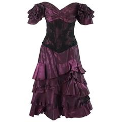 Vicky Tiel Eggplant Pleated Taffeta and Lace Dress - 46 - 1980's