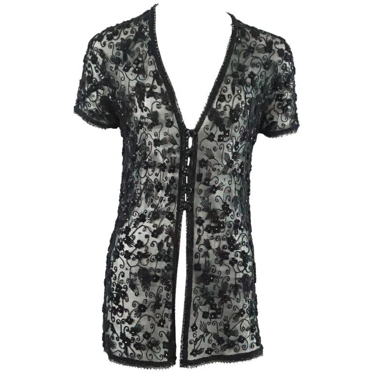 Donna Karan Black Heavily Beaded Mesh Short Sleeve Jacket - 4 - 1990's  For Sale