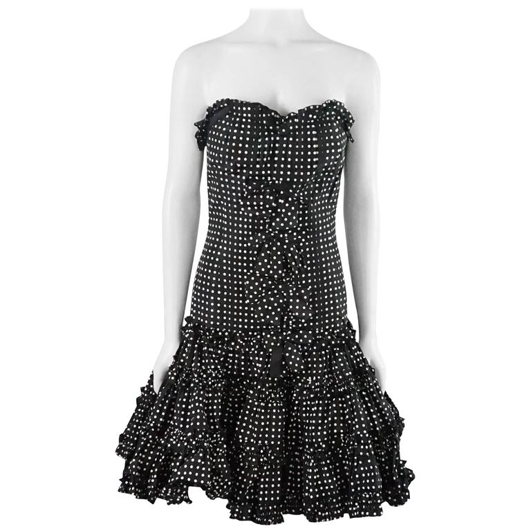 Oscar de la Renta Black and White Polka Dot Strapless Dress - 8 For Sale
