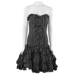 Oscar de la Renta Black and White Polka Dot Strapless Dress - 8