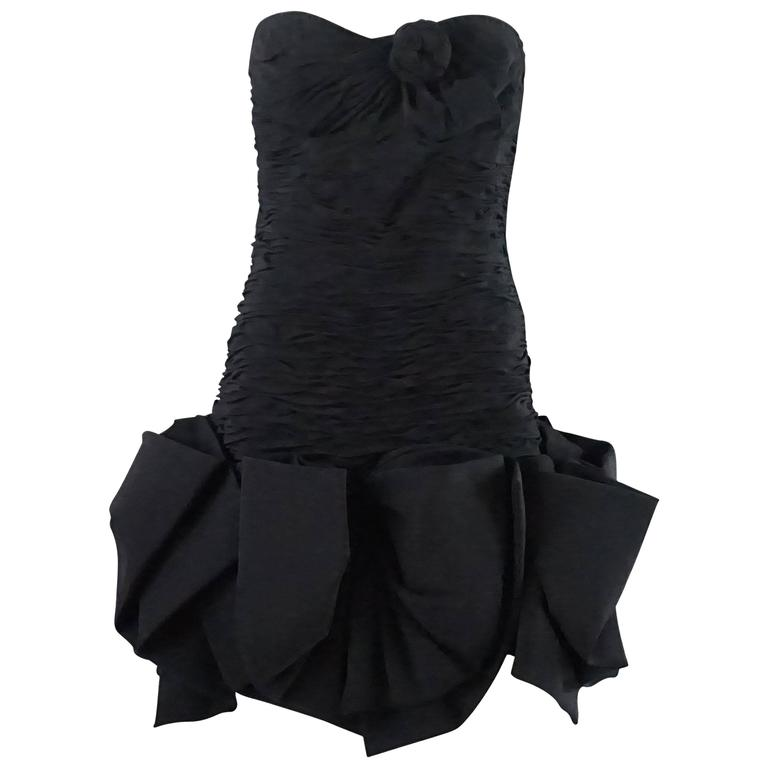 Ungaro Black Ruched Mini Dress with Bows - 10 - 1980's