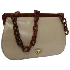 1970s Prada Taupe Baguelite Shoulder Bag