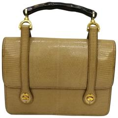 1960s Gucci Lizard Bamboo Handbag
