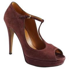 Gucci Burgundy Suede T-Strap Platform Heels - 38.5