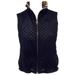 Burberry Navy Diamond Quilted Vest With Signature Check Lining