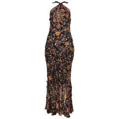 John Galliano Dior Black Floral Dress