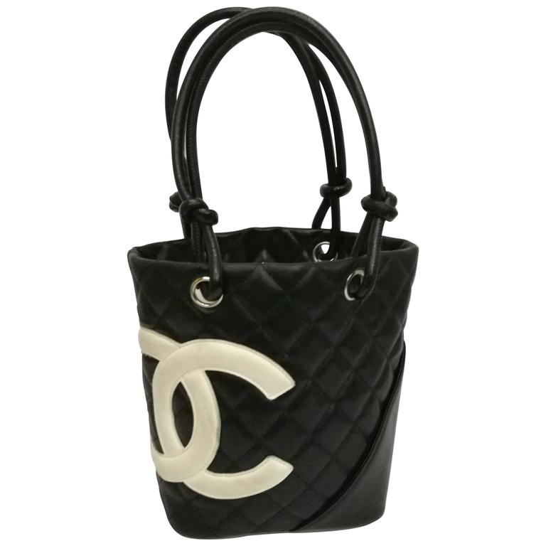 3ecd6bf4327a47 Chanel Black white logo Cambon bag at 1stdibs