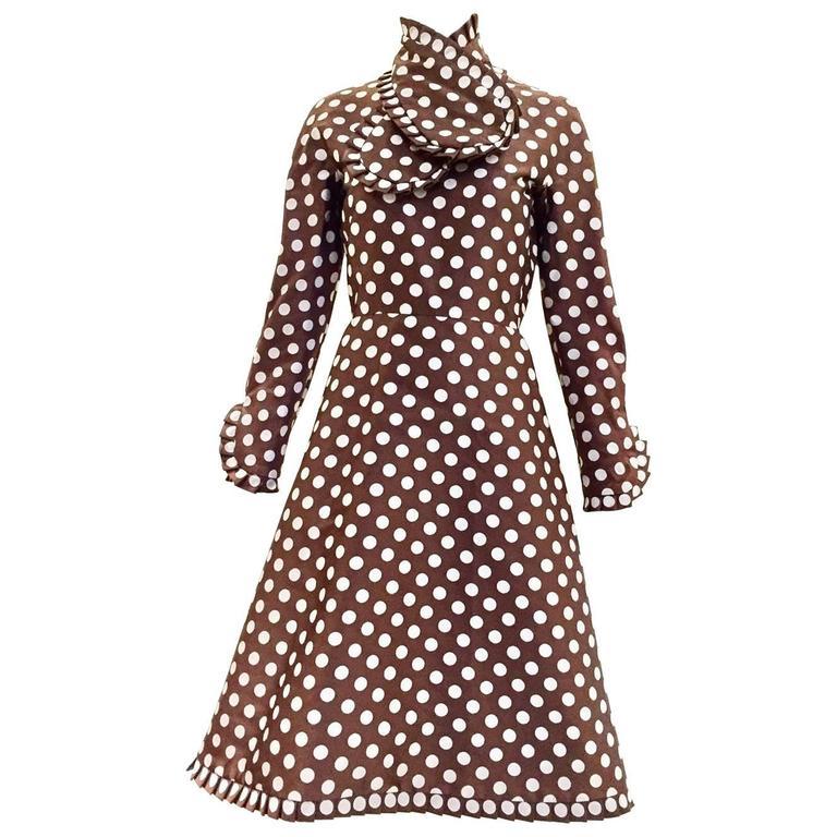 Geoffrey Beene brown and grey silk polka dot dress, 1960s  For Sale