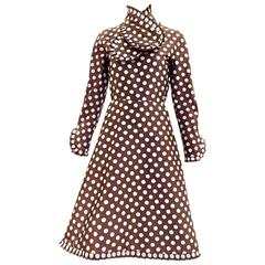 1960s Geoffrey Beene brown and grey silk polkadot dress
