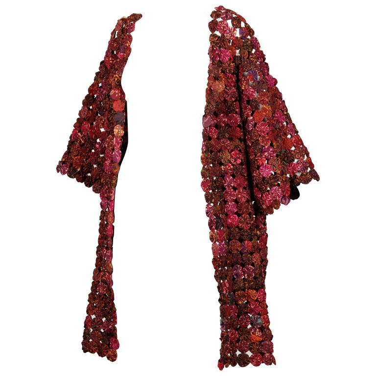 1970s Vintage Silk Ikat Handmade Fabric Yo-Yo Kimono Duster or Coat
