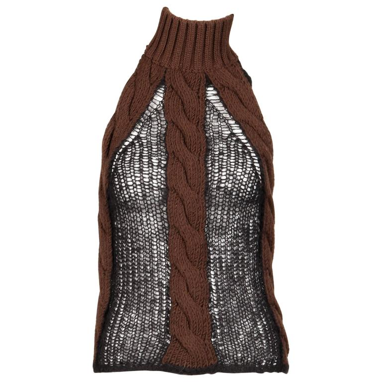 1664811d33 Laura Biagiotti Unique Vintage Wool + Mohair Cable Knit Halter Top Sweater  For Sale