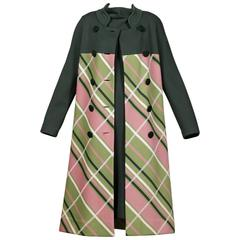Gino Paoli 1960s Vintage 100% Wool Knit Plaid Coat + Dress 2-Piece Ensemble