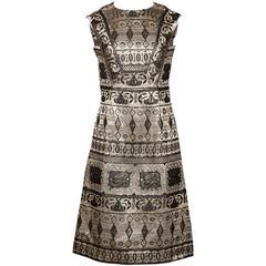 1960s Vintage Metallic Brocade Dress