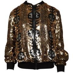 Metallic Gold Sequin Silk Vintage Bomber Jacket