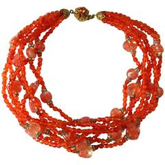 Miriam Haskell Tomato Red Glass Multi-Strand Choker Necklace