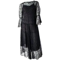 70s Black Lace Dress and Slip.