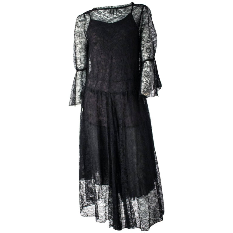 70s Black Lace Dress and Slip.  For Sale