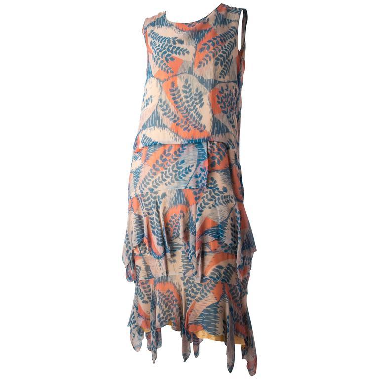 20s Silk Chiffon Fern Print Dress 1
