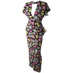 40s Floral Printed Silk Peplum Dress