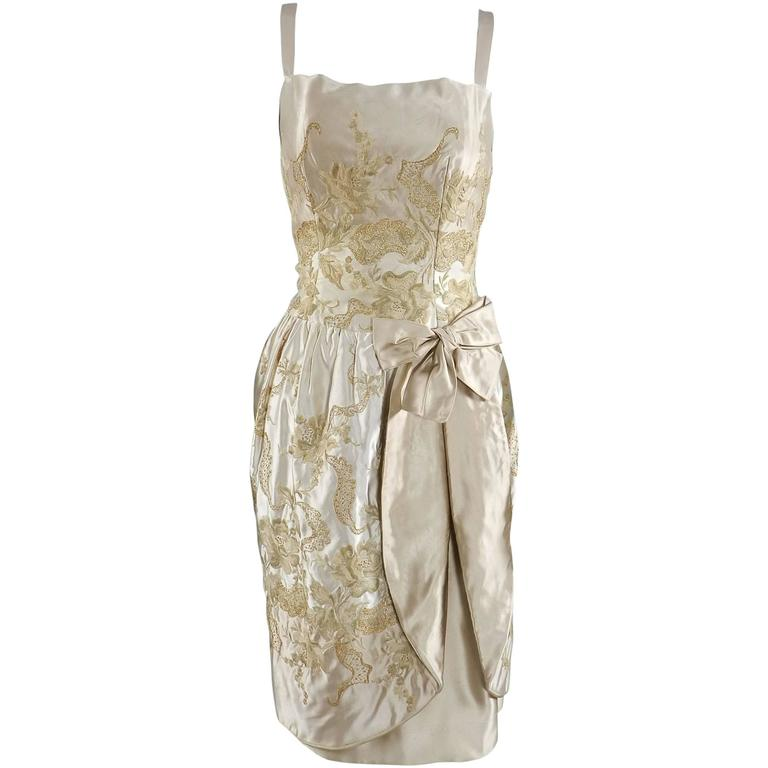 Vintage 1950's Florilege Balmain Ivory Silk Embroidered Cocktail Dress For Sale