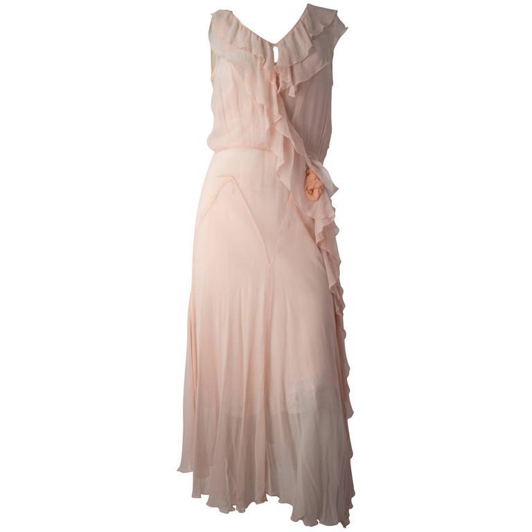 20s Pink Silk Chiffon Ruffle Dress And Slip For Sale At