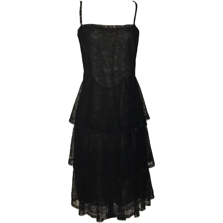 Chanel 2000 New with Tags Black Lace and Nude Semi-Sheer Silk Tiered Dress