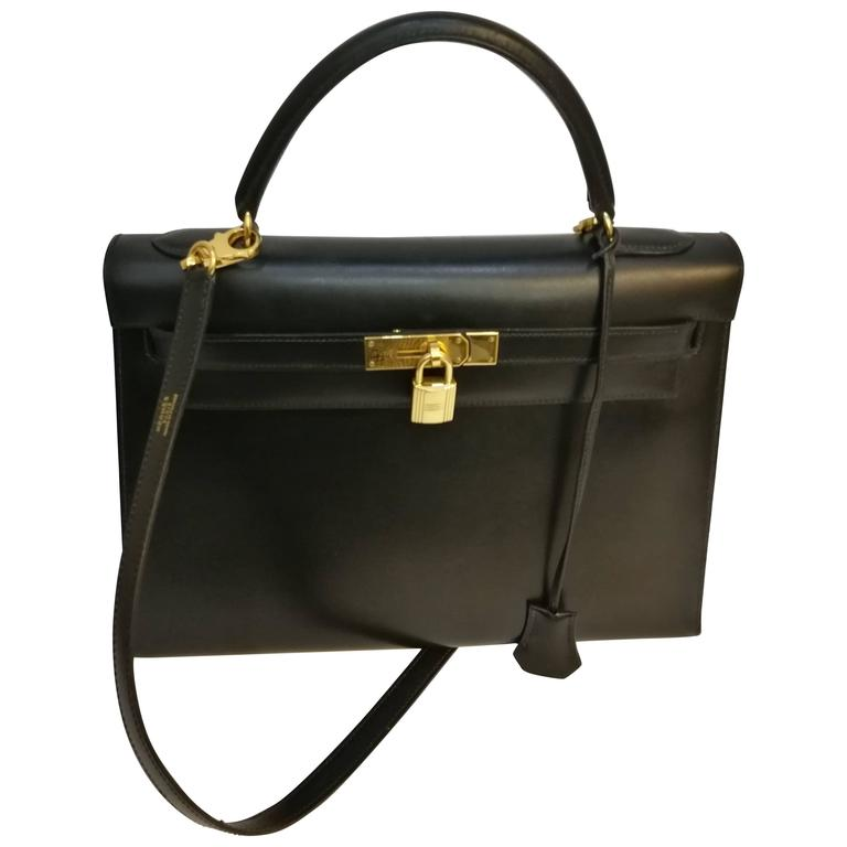 Hermes Black Leather Kelly