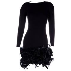 Yves Saint Laurent Rive Gauche 70s Feather Knit Dress