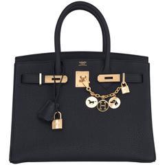 Hermes Black 30cm Birkin Togo Gold Hardware Bag Classic Chic