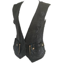 Versace Black Perforated Leather Gilet