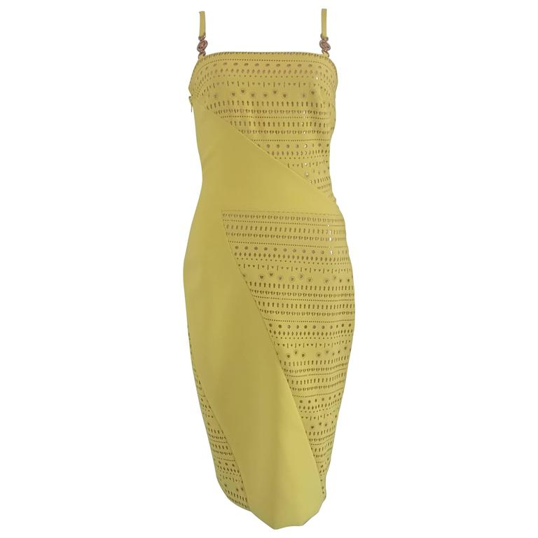 Versace Yellow Perforated Dress