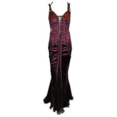 F/W 2003 Dolce & Gabbana Runway Burgundy Corset Gown Dress Worn by Jorja Smith