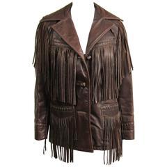 Western Fringe Biker Jacket 1960's Brown Leather SCHOTT RANCHER