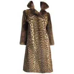 1940's Vintage Leopard Print Fur Mouton Sleeve Jacket Coat