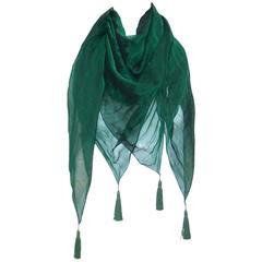 Ethereal C.1990 Sayoko Miyajima Micro Pleated Green Silk Chiffon Scarf