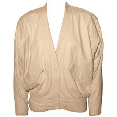 Vintage Begedor Italia 1980s White Leather Jacket