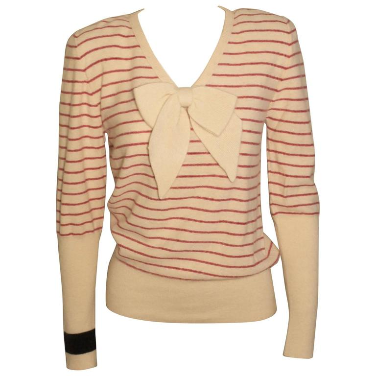Vintage Sonia Rykiel Striped Sweater with Pussycat Bow