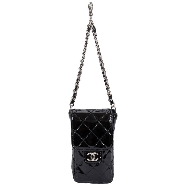 Chanel Black Patent Quilted Charm Purse on Chain