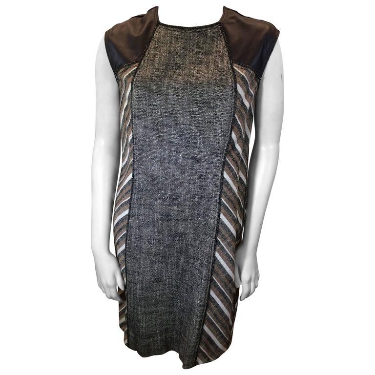 Derek Lam Metallic Tweed Dress with Leather Detail