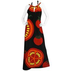 "1970s Lanvin Printed ""Tomato"" Halter Jersey Dress"
