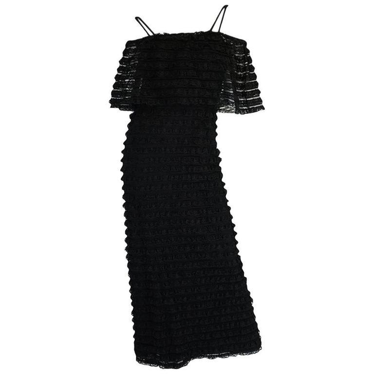 1960s Black Lace & Net Simonetta Sheath Dress & Cape For Sale