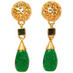 1980's Ben Amun Emerald Green & Gold Dangle Clip On Earrings
